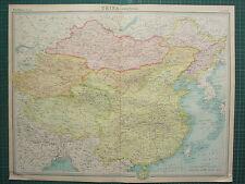 1921 gran mapa ~ China político Mongolia Tíbet Turkestan Hai-nan Hong Kong