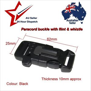 Buckle for 550 Paracord Survival Bracelet Projects whistle flint fire steel tool