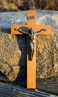 altes Kreuz Kruzifix Massivholz 20 x 10 cm Jesus Christus Metall