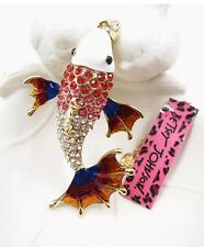 Betsey Johnson Necklace CARP RED BLUE OMBRE GOLD CRYSTALS Fish Adorable