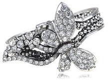 Lady Silver Butterfly Weave Braid Bracelet Bangle Cuff