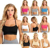 Women Summer Sleeveless Slim Fit Short Vest Tank Top Comfort Yoga Gym Sports Bra