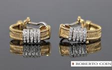 Roberto Coin Ruby 18K Yellow White Gold Round Diamond Silk Weave Earrings