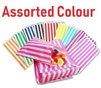 100 - STRIPED CANDY PAPER BAGS FOR SWEET FLAVOR BUFFET WEDDING CAKE GIFT SHOP