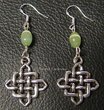CELTIC KNOT EARRINGS 925 STERLING SILVER HOOKS Wicca Witch Pagan Goth