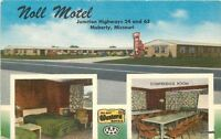 1940s Noll Motel Interior entrance roadside Moberly Missouri Lipman postcard 126