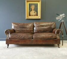 364.TIMOTHY OULTON VINTAGE BROWN LEATHER THREE SEATER CHESTERFIELD SOFA 🚚 🇬🇧
