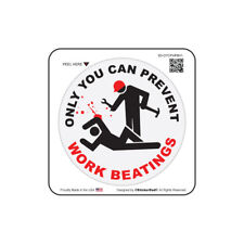 """Only You Can Prevent Work Beatings (3 Pack) Hard Hat Sticker (size: 2"""" color:W)"""