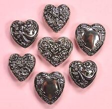 Buttons Galore Large Silver Hearts 4409 - Silver Vintage Dress It Up