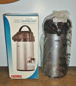NEW Thermos 2 Quart Glass Vacuum Insulated Pump Dispenser Pot Gray Metallic Box