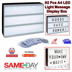 A4 Light Up LED Cinematic Letter Box Xmas Sign Wedding Party Cinema Plaque Shop