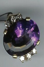 11 ct AMETHYST .37ct Diamonds 18kt Solid Gold RING-New Old Stock-Sized 6.5
