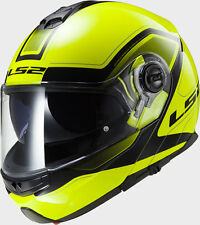 CASCO MOTO SCOOTER MODULARE LS2 FF325 STROBE CIVIK HI-VIS YELLOW BLACK TG L