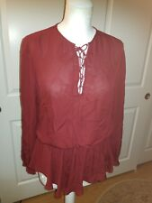 Rebecca Minkoff 100% Silk Long Sleeve Red  Blouse  Size M