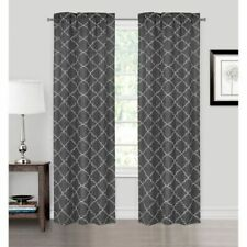 Pair Panel Curtains Natalie Grey Embroidered 2 Rod Pocket 26 in X 84 in