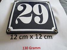 Hausnummer Emaille Nr. 29 weisse Zahl auf blauem Hintergrund 12 cm x 12 cm