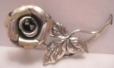 "Antique Sterling Silver Flower Pin 1 7/8"" Rose Beau Sterling  Nice!"