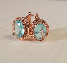 Pretty New Classic Rose Gold Plated Oval Shaped Aquamarine CZ Hoop Earrings