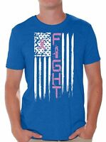 Breast Cancer T shirts Shirts Tops  American Flag Men's Fight Distressed