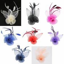 Flower Hair Clip Feather Small Mini Top Hat Fascinator Wedding Ascot Race  Party ef3eb486db9