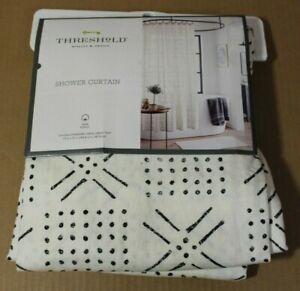 "THRESHOLD Shapes Shower Curtain | 72"" x 72"" | Black/White | NEW"
