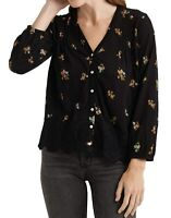 Lucky Brand Womens Blouse Black Size XS V neck Pintucked Floral Print $69 279