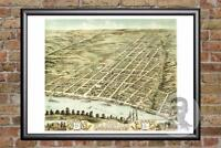 Vintage Clarksville, TN Map 1870 - Historic Tennessee Art - Victorian Industrial