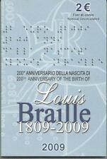 Italia 2009 Braille 2 euro fior di conio confezione di zecca, mint coin in box.