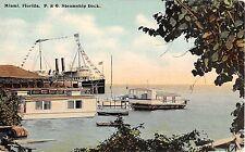 1910 P&O Steamship at Dock Miami FL post card