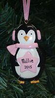 Personalised Xmas Penguin Pink Blue Hanging Christmas Tree Decoration - Any name
