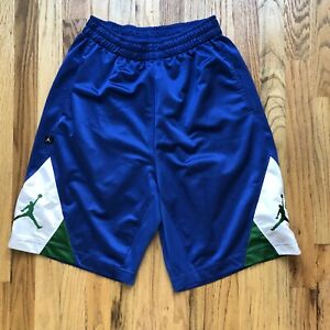 Men's Air Jordan Blue Green White Jumpman Logo Athletic Basketball Shorts Sz M