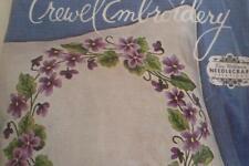 Vintage Elsa Williams Crewel Embroidery Kit Purple Violets Sealed Linen Pillow