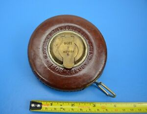 Vintage John Rabone & Sons No 4181 Leather & Brass 50ft Metal Tape Measure