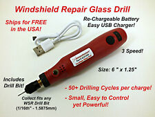 Cordless Windshield Glass Drill - Auto Glass Windshield Chip Repair Resin Kit