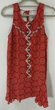 NWT THML Red Summer Dress Sleeveless Tank Boho Embroidered Pattern Womens Size S
