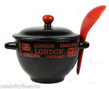 Londres temático BANDERA FUCSIA Sopa Cuenco Con Cuchara china REGALO DE COCINA