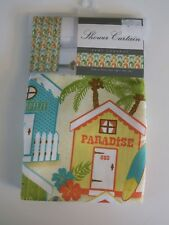 NEW Surf Cabana Fabric Layla White Green Island Palm Tropical Shower Curtain