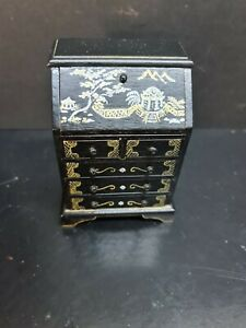 dolls house furniture black/gold oriental ornate writing bureau  1.12thY