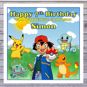 KIDS POKEMON BIRTHDAY CARDS - personalised with any AGE RELATIONSHIP & NAME