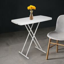 Square Plastic Folding Card Table Lifting Desk 30x20 in Height Adjustable White