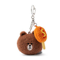 Korea LINE FRIENDS Brown Cony Sally Choco 5cm Face Plush Key Ring Gift Mascot