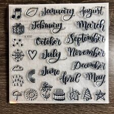 Through the Year S1711 CTMH Close to My Heart Acrylic Stamps set Months Seasons
