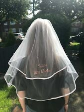Personalised Hen Party Wedding Veil : Rose Gold Text