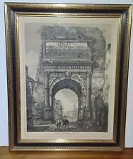 "Lithograph Etching- Veduta dell' Arco di Tito View of the Arch of Titus 16""x12""."