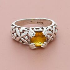 blushed sterling silver faceted yellow citrine floral ring size 6.75