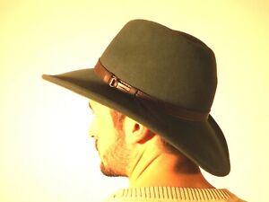 New Men's Crushable Genuine Wool Felt Fedora Bush Sun Hat Bottle Green S M L XL
