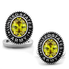 US Army Yellow Topaz Stone Military Silver Stainless Steel Cufflink a Pair