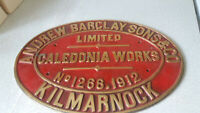 HEAVY BRASS RAILWAY PLAQUE SIGN- BRASS- ANDRE BARCLAY - CALEDONIAN WORKS 1912