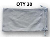 20 Silver Micro Fiber Sunglasses Pouch Sunglass Case Bag Soft Storage Sleeve