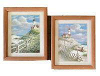 "Set of 2 Vintage Lighthouse Ocean Scene Prints Wall Art Decor 9""x 11"" Wood Frame"